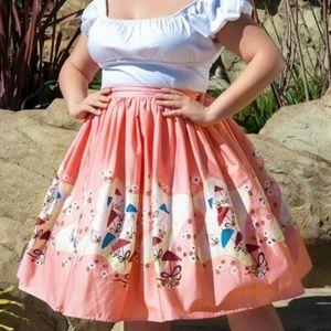 PUG Mary Blair parasol print pink skirt sz med